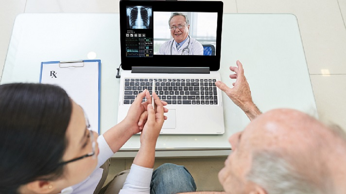 A telemedicine session via laptop