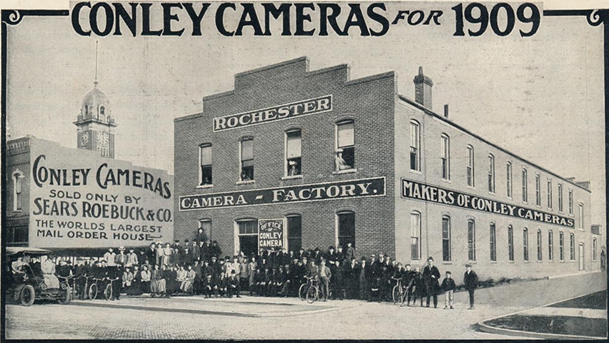 Conley Camera building in an antique photo