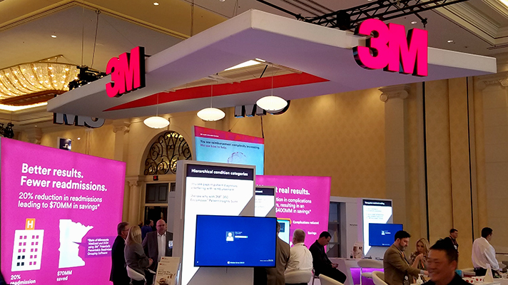 The 3M logo over a HIMSS booth