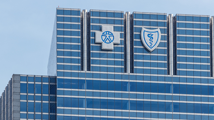 Blue Cross Blue Shield building exterior with logos