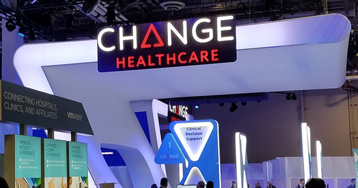 Change Healthcare sign at trade show