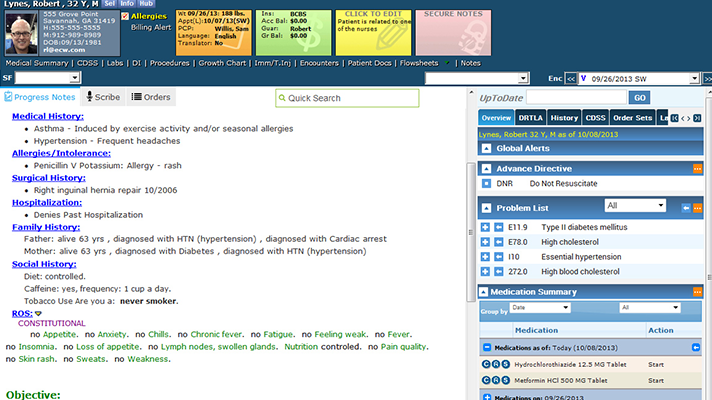 Screenshot of an eClinicalWorks EHR.