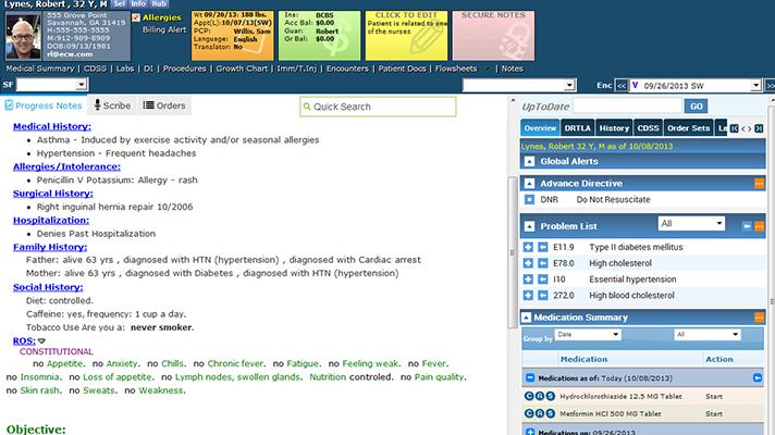Screenshot of an eClinicalWorks EHR.