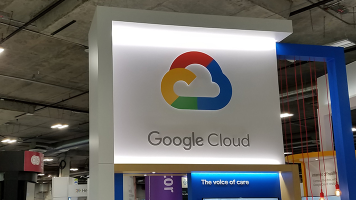 Google Cloud sign at HIMSS18 booth