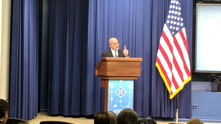 AHRQ Director Gopal Khanna speaking at Blue Button 2.0 Conference at the White House on Tuesday