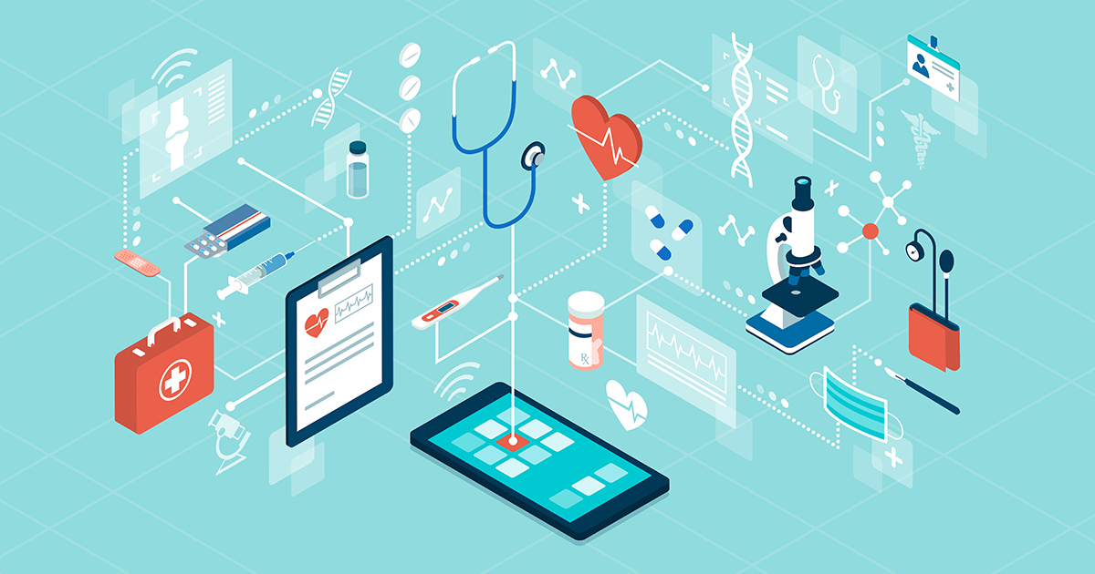 Healthcare information exchange in a graphic with medical equipment and screen devices