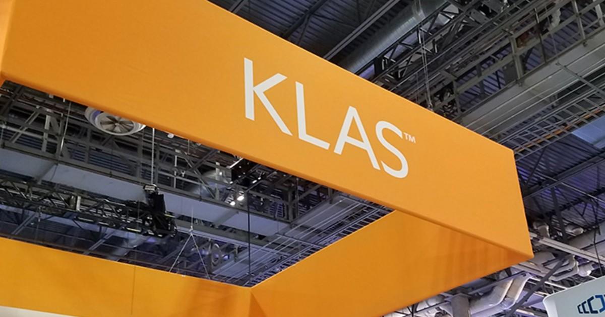 The KLAS logo on a banner