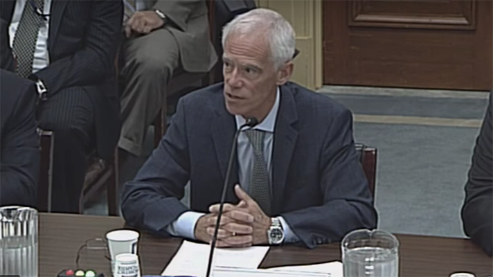 Leo Scanlon at a hearing talking about HHS healthcare cybersecurity