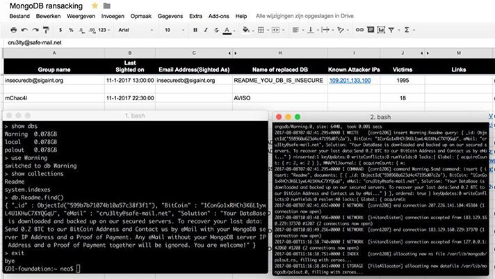 ransomware attack of MongoDB
