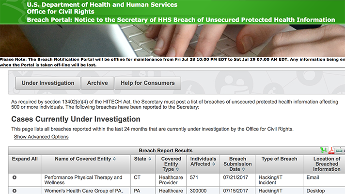 HHS breach reporting website