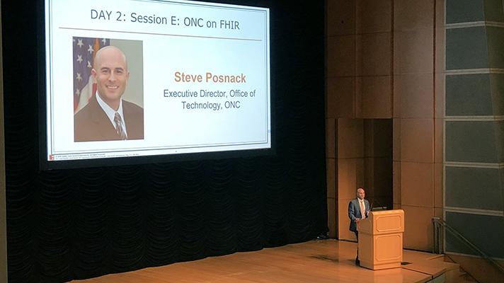 Steve Posnack speaks at the HL7 Roundtable.