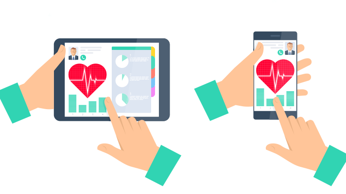 A tablet and a smartphone display a health app
