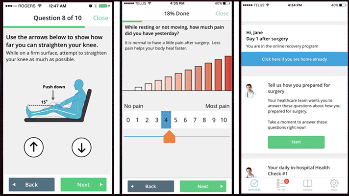 post-op recovery app for patients used by hospitals