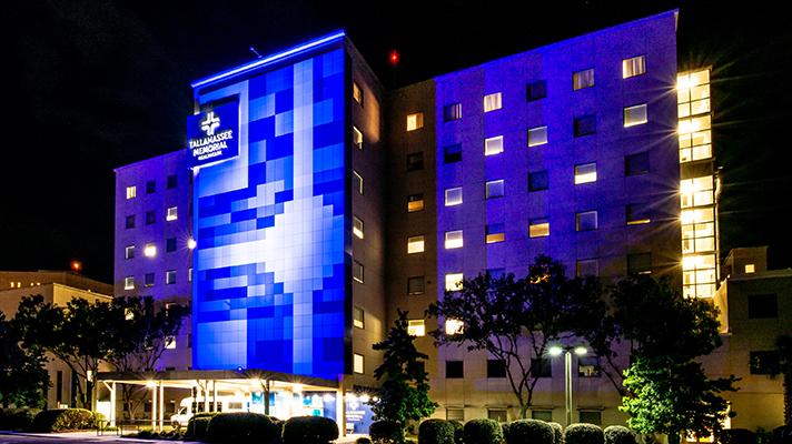 Tallahassee Memorial Hospital exterior shot at night.