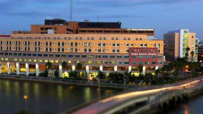 Tampa General Hospital at night exterior view