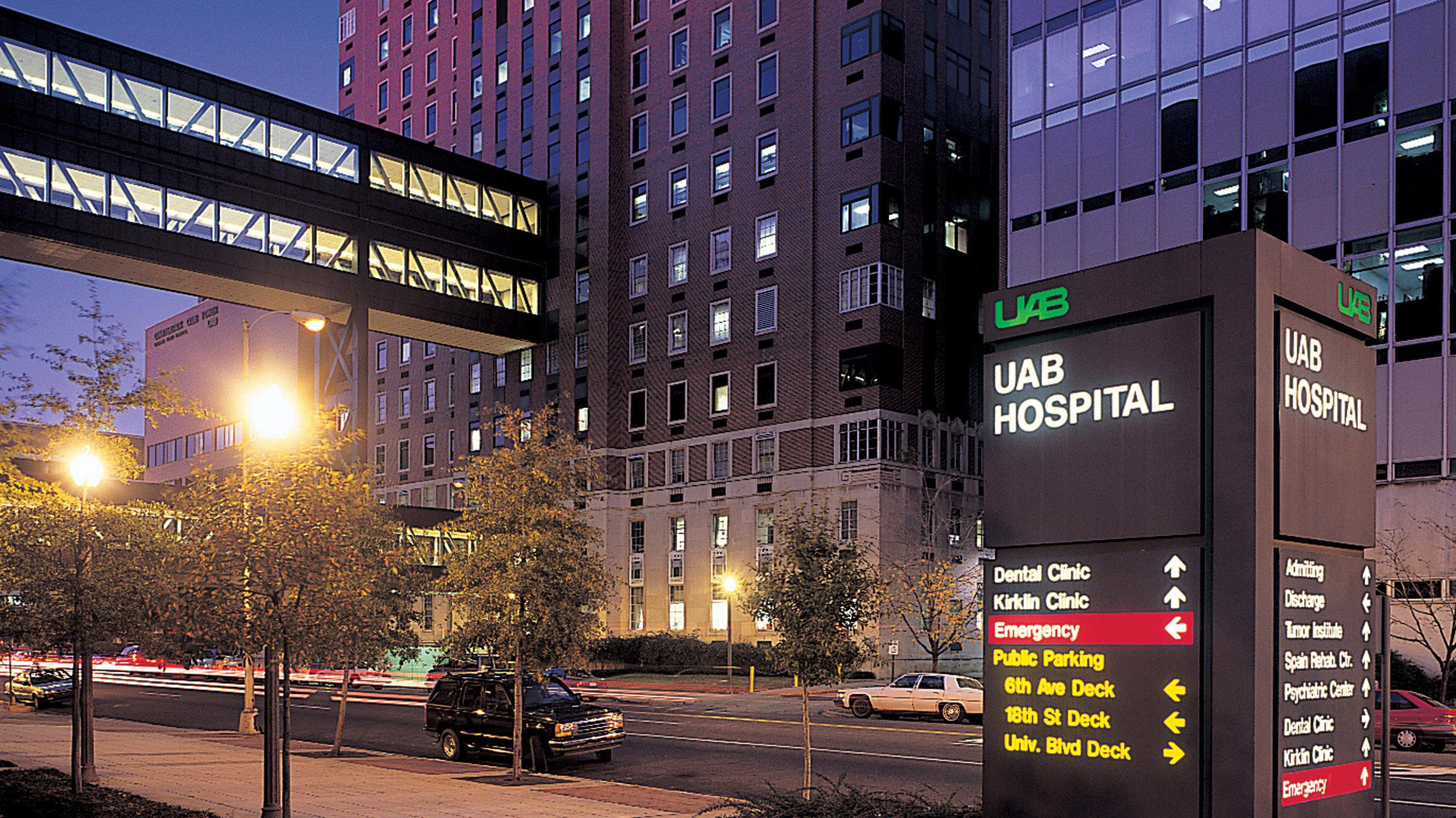UAB Medicine Jefferson Tower exterior view at night