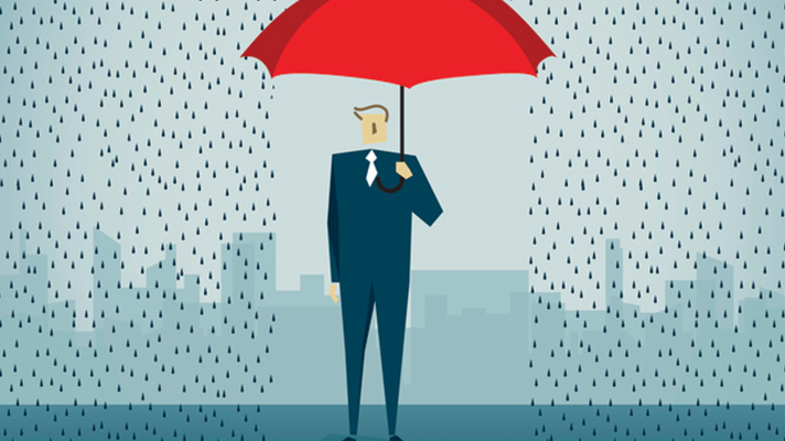 illustration of man holding red umbrella