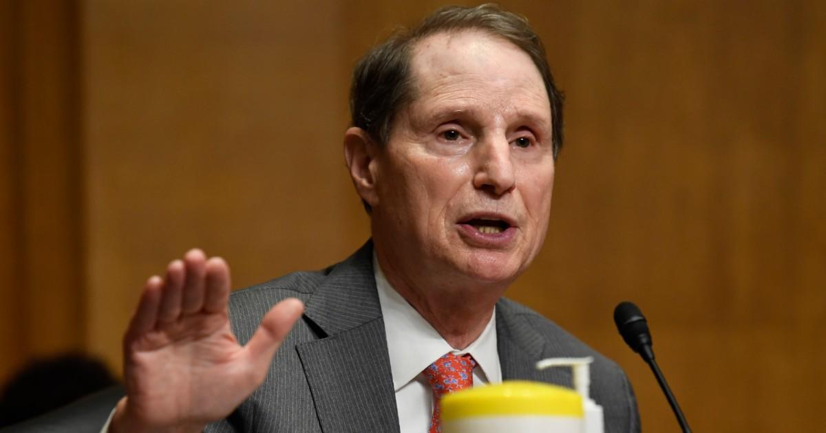 Sen. Ron Wyden speaking on Capitol Hill