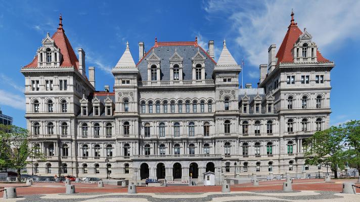 The New York State legislature building in Albany, New York.
