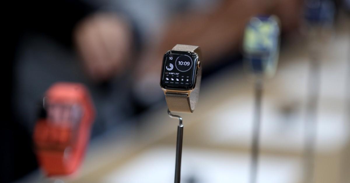 An Apple Watch on display