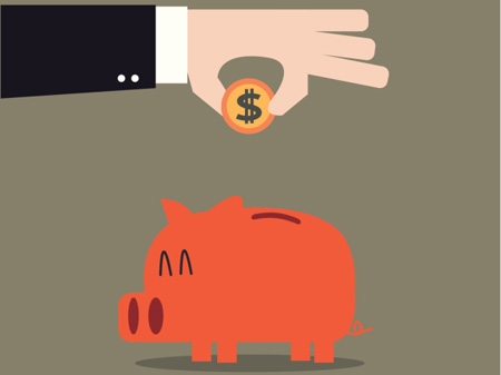 Illustration of man putting money in piggy bank