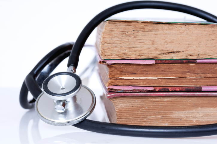 books with stethoscope