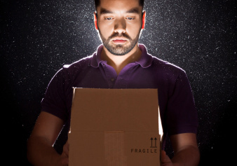 Man with open box