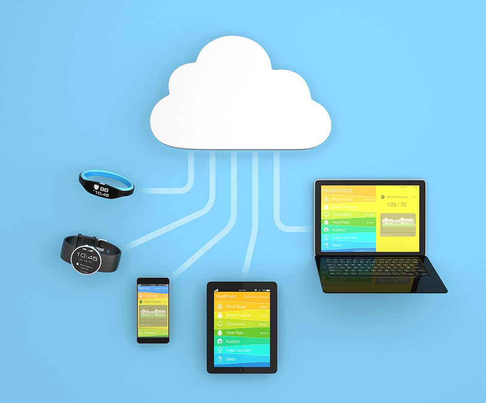 illustration of cloud connected devices