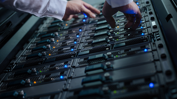 technician managing the cloud storage data center servers