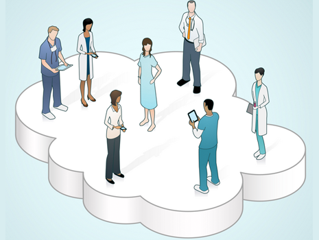 Illustration of cloud with medical professionals