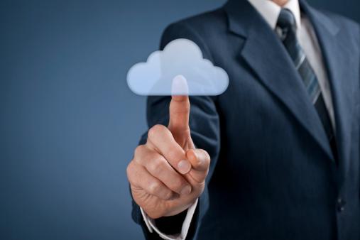 Man pushing cloud computing button