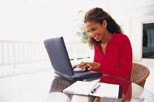 Patient using laptop