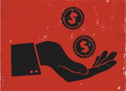Illustration of hand with coins