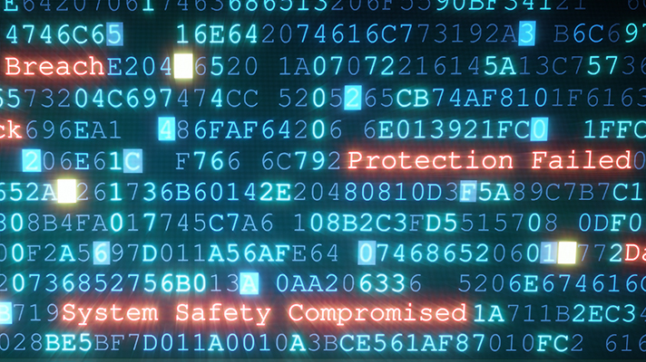computer screen with data breach