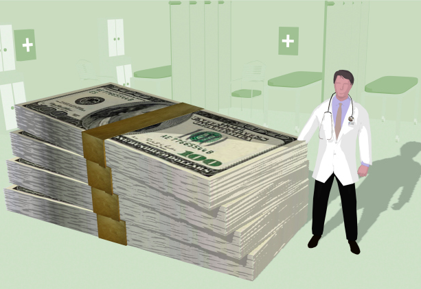 Doctor with stack of money