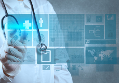 Doctor with virtual touchscreen