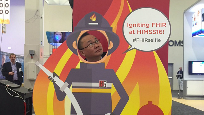 FHIR advocate HL7 put a lot of evert into marketing the interoperability spec at HIMSS16. (Twitter photo)