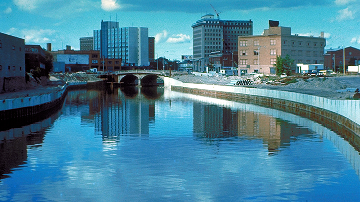 The Flint River in Flint, Michigan, United States, in the late 1970s during a U.S. Army Corps of Engineers flood control project. (Wikipedia)
