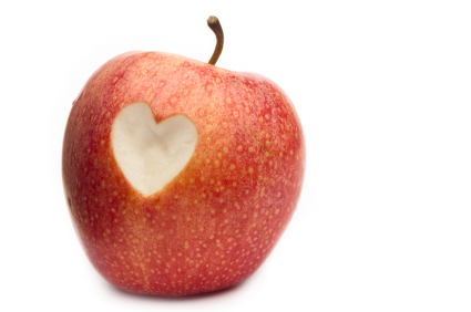 Heart cut out of apple