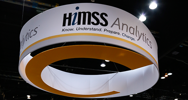 HIMSS Analytics booth on the trade show floor