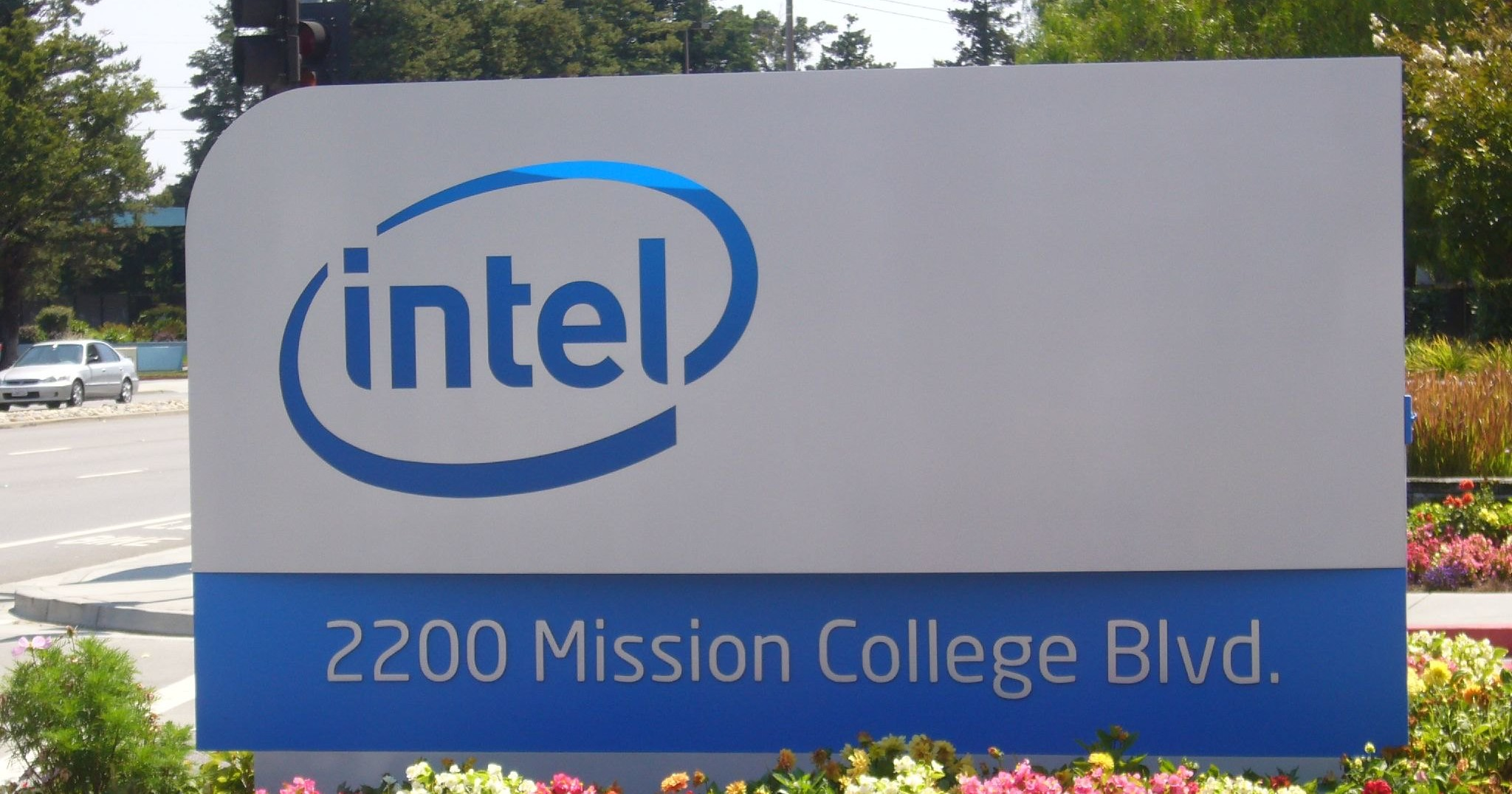 Intel outdoor sign with logo