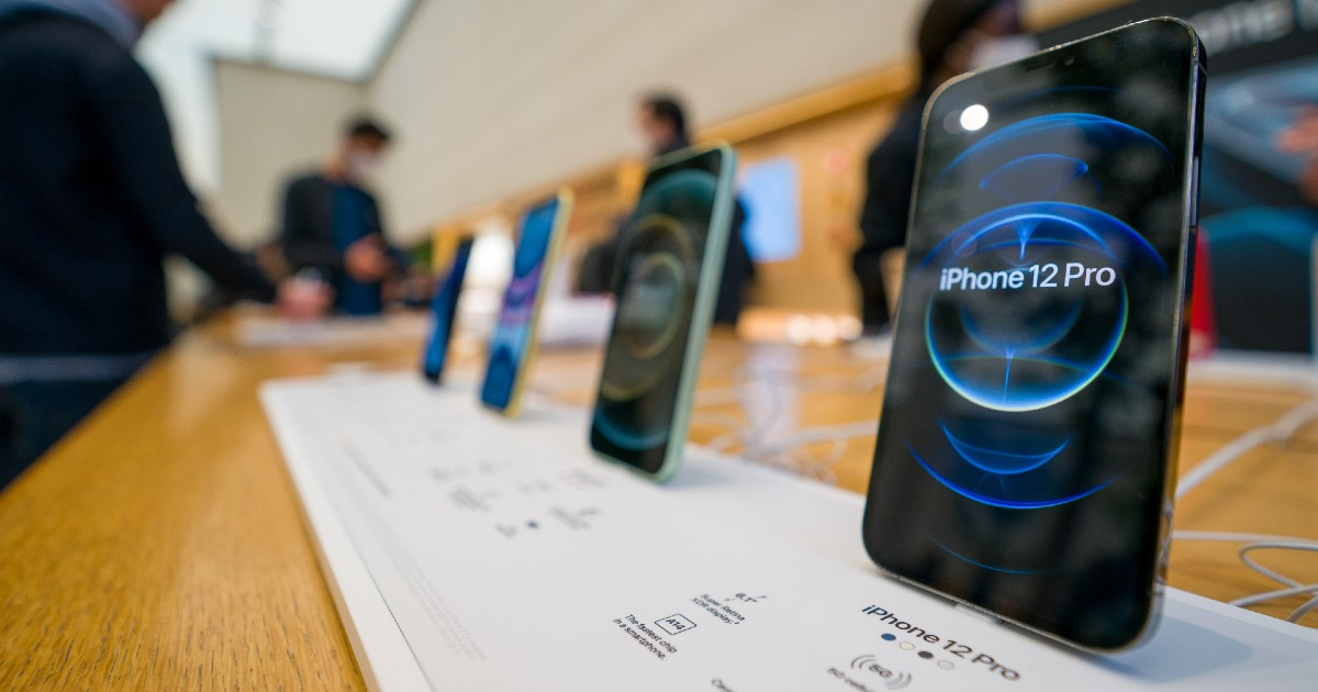 An iPhone sitting at an Apple store