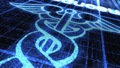 Digital caduceus icon