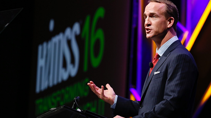 In his closing keynote at HIMSS16 on Friday, Denver Broncos quarterback Peyton Manning, the reigning Super Bowl champ, spoke about leadership, teamwork and battling through adversity.