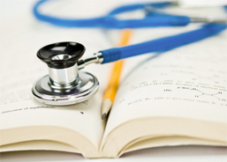 Stethoscope on open book