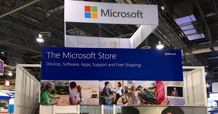 The Microsoft logo at a booth