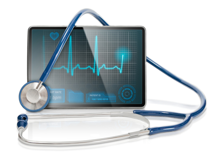 Tablet and stethoscope