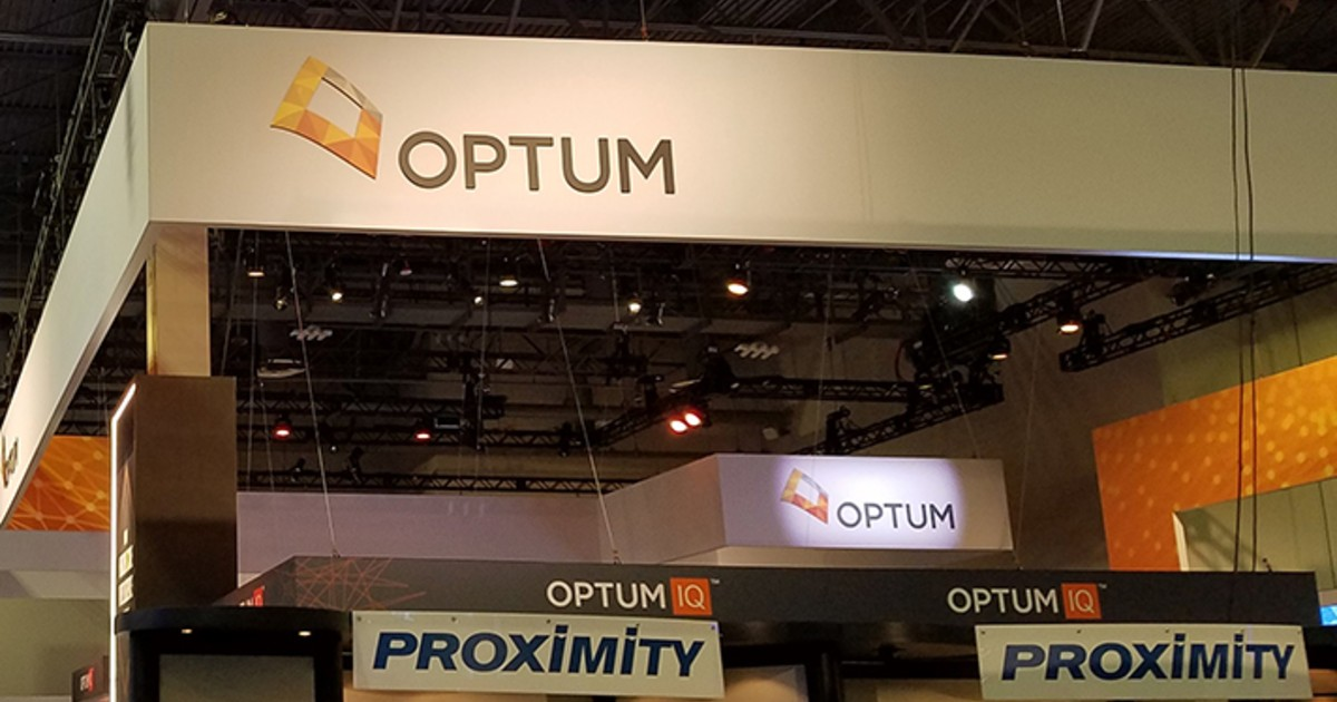 A booth with an Optum logo
