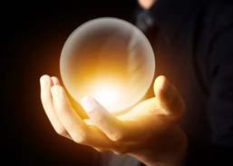 Man holding glowing globe