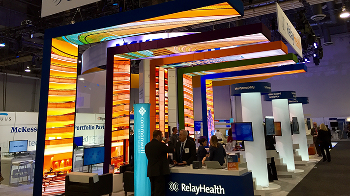 Relay Health's booth at HIMSS16. The company on Monday released a report showing that of the 262 million ICD-10 claims it processed between October 1, 2015, and February 15 using RelayHealth Financial revenue cycle management systems, only 1.6 percent were denied.